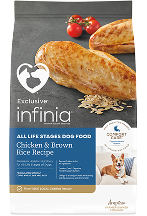 Image of Infinia® Chicken & Brown Rice Recipe All Life Stages Dog Food bag