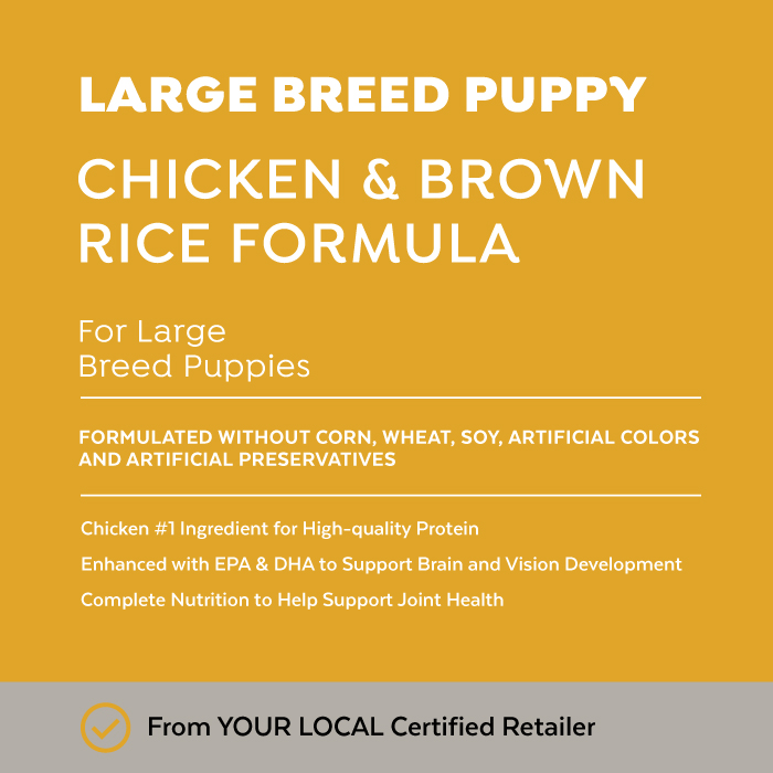 Close-up image of Exclusive® Signature Large Breed Puppy Formula Dog Food bag