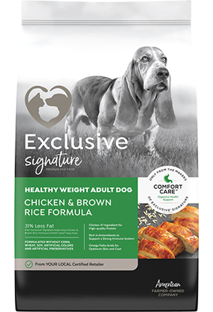 Image of Exclusive® Signature Healthy Weight Adult Formula Dog Food bag