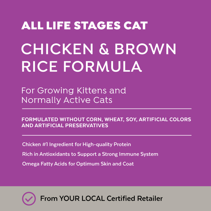 Close-up image of Exclusive® Signature All Life Stages Formula Cat & Kitten Food bag