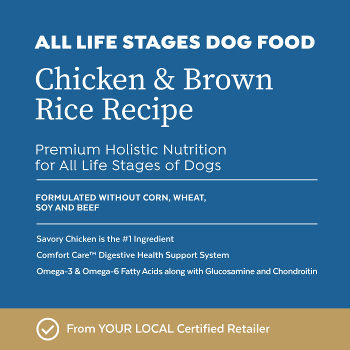Close-up image of Infinia® Chicken & Brown Rice Recipe All Life Stages Dog Food bag