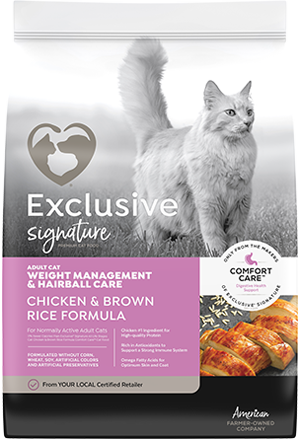 Image of Exclusive® Signature Weight Management & Hairball Care Cat Food bag