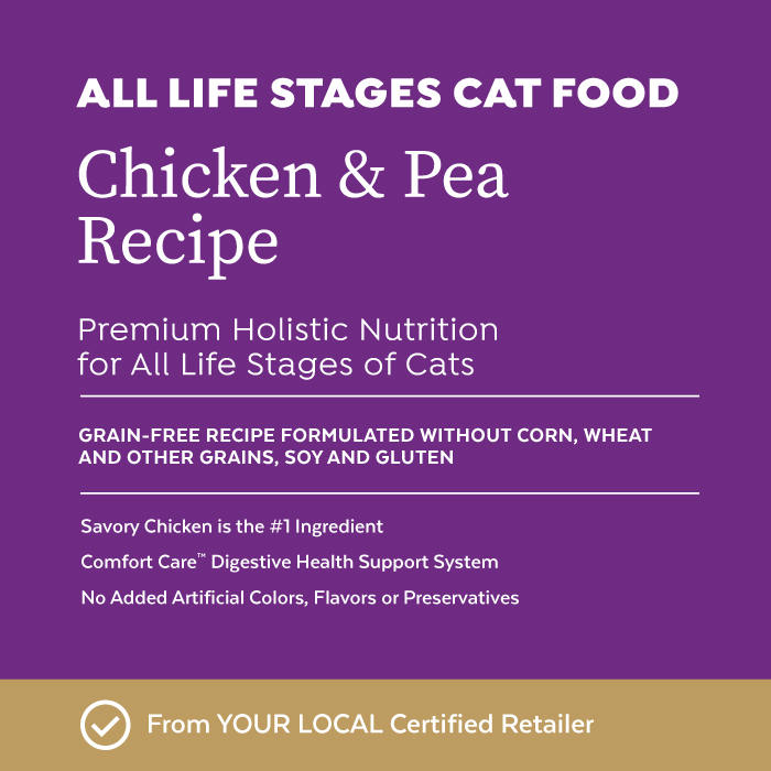 Close-up image of Infinia® Chicken & Pea Recipe All Life Stages Cat & Kitten Food bag