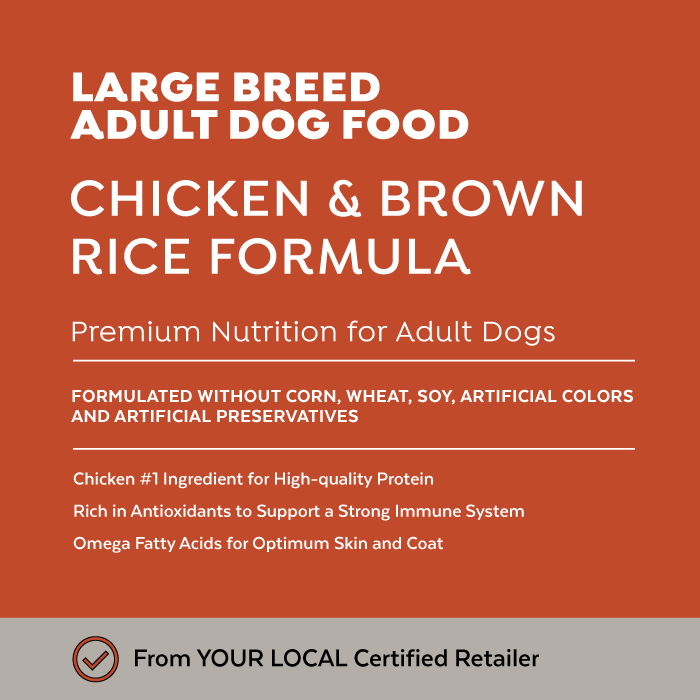 Close-up image of Exclusive® Signature Large Breed Adult Formula Dog Food bag