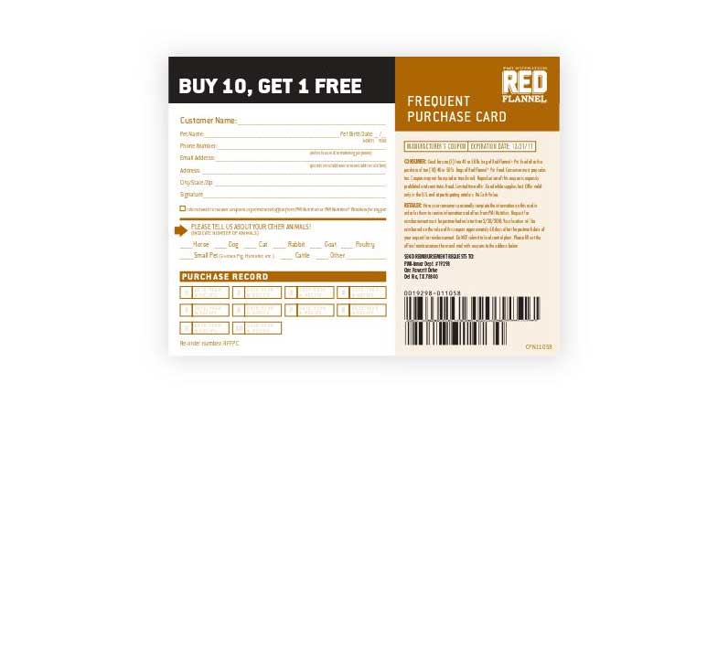 Red Flannel frequent purchase program cards