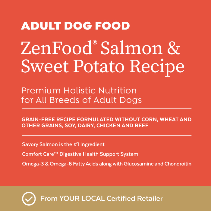 Close-up image of Infinia® ZenFood® Salmon & Sweet Potato Dog Food bag