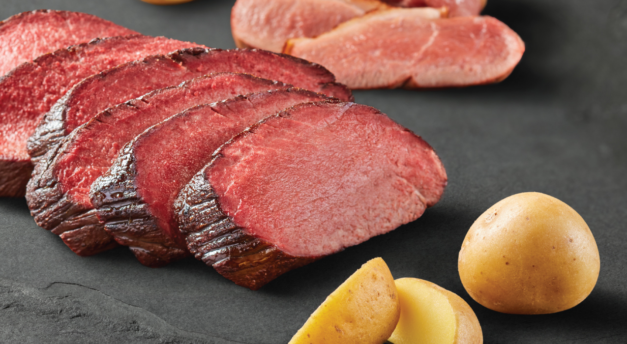 Image of venison, duck and potatoes