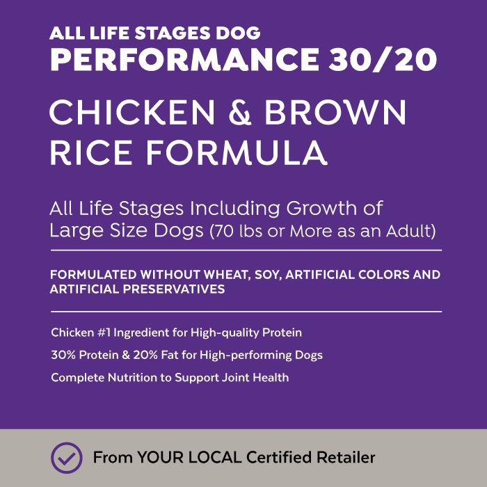 Close-up image of Exclusive® Signature Performance 30/20 All Life Stages Dog Food bag