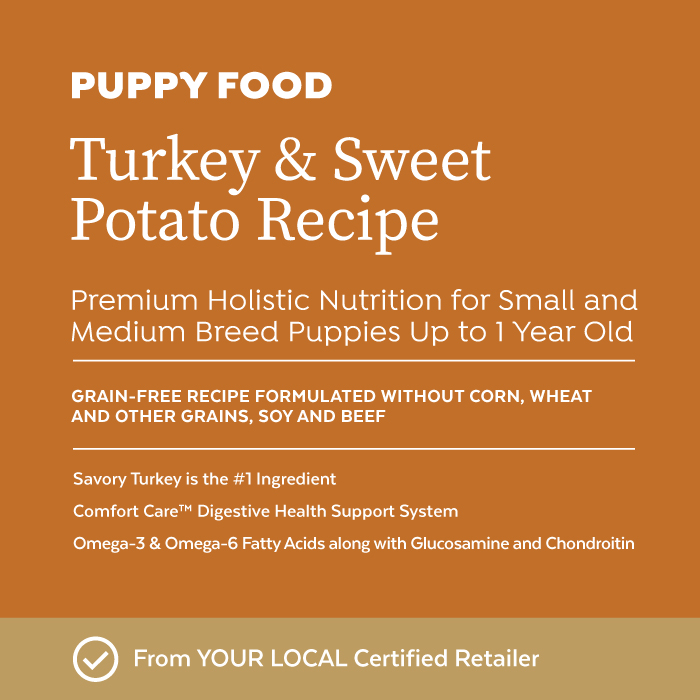Close-up image of Infinia® Turkey & Sweet Potato Recipe Puppy Dog Food bag