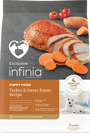 Image of Infinia® Turkey & Sweet Potato Recipe Puppy Dog Food bag